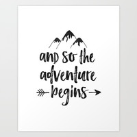 And So The Adventure Begins Sign,Adventure Awaits,Adventure Nursery,Kids Room Decor,Quote Posters,Pr Art Print by Printable Aleks