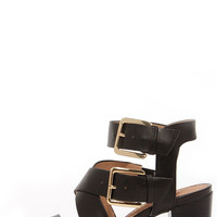 Restricted Kick Off Black Buckled High Heel Sandals