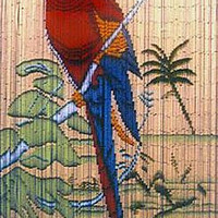 Bamboo door curtain with parrot scene