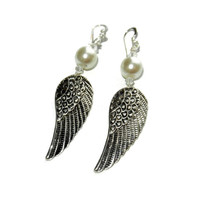 Silver Angel Wing Dangle Earrings with Pearls and Crystals