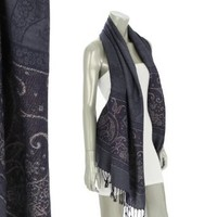 Amazon.com: Fashion Chic Metallic paisley pattern woven Pashmina -Fashion Scarf Shawl Wraps with fringe- violet blue- CS0403: Clothing