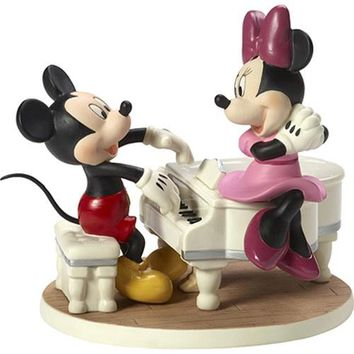 "Precious Moments ""Our Love Is A Sweet Melody"", Disney Mickey Mouse and Minnie Mouse Musical Porcelain Figurine"
