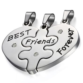 Boniskiss New Women Jewelry Silver Stainless Steel Best Friends Pendant Necklace Heart Collares Accessories Gift
