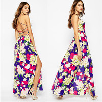 Floral Print Strappy Back Maxi Dress With Slit