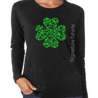 St Patricks Day LONG SLEEVE tee Womens shirt Shamrock Irish St Patty's day t-shirt