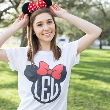 Monogrammed Mickey and Minnie Tshirt Desgin, Disney Shirt, Minnie Shirt, Monogram Tshirt