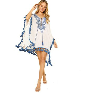 Boho Chic Embroidered Poncho Cover Up