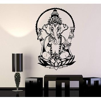 Vinyl Wall Decal Ganesha Lotus India Elephant Hinduism Stickers Mural Unique Gift (466ig)