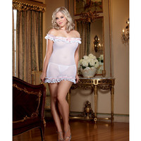 Stretch Mesh Off Shoulder Chemise W-matching Thong Included White-pink Qn