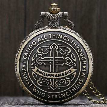 Antique Bronze Philippians 4:13 Pocket Watch
