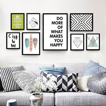 Nordic decorative painting modern living room wall poster black and white English abstract creative home canvas painting
