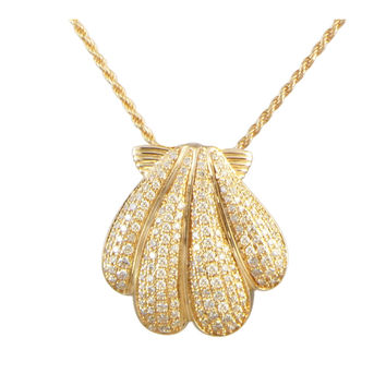 YELLOW GOLD PLATED 925 STERLING SILVER HAWAIIAN SUNRISE SHELL PENDANT CZ 21.50MM