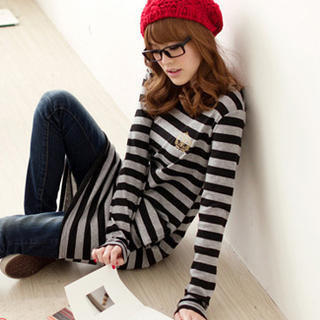 YESSTYLE: Tokyo Fashion- Long-Sleeve Striped Dress (Black & Light Gray - One Size) - Free International Shipping on orders over $150