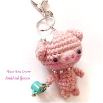 Handmade Crochet Bag Charm Crochet Pig Key Chain Amigurumi Pig Teal Watering Can Charm Pink Piggy Kawaii Accessories Girls Stuff Gift Ideas