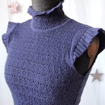 Vintage Sweater Gianfranco Ferre Purple Knit Cap Sleeves Made in Italy size S