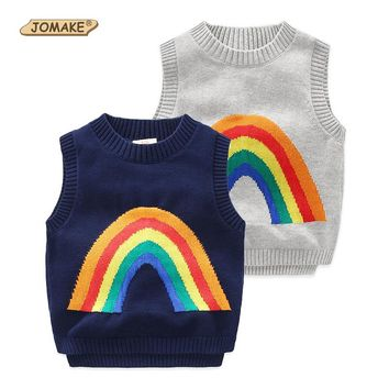 New Fashion Kids Boy Sweater Sleeveless Vest Style Rainbow Pattern Children Knitted Pullover Coat Kids Waistcoat Boys Sweaters