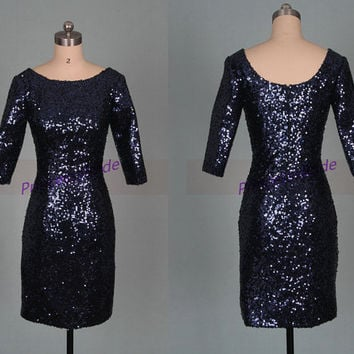 Short navy blue sequins bridesmaid dresses in 2014,chic cheap prom dress under 100,unique long sleeves gowns for wedding party.