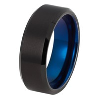 Black Blue Wedding Band Tungsten Carbide Beveled Edges Mens Wedding Band Brushed 8mm Tungsten Ring Man Engagement Ring Anniversary Promise Black Wedding Ring Matching Set Blue Ring Scratch Proof