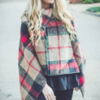Vogue Plaid Poncho