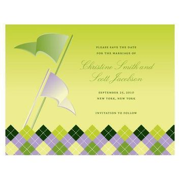 Golf Save The Date Card Indigo Blue Gradient (Pack of 1)