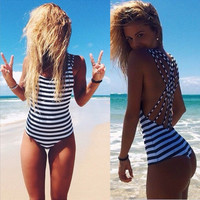 Black and White Striped Monokini with Multi-Strap