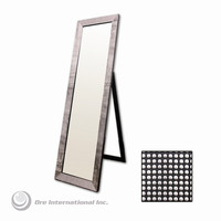 ORE Rectangular Floor Mirror with Pearl-Like Studs in Black