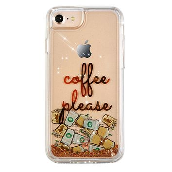 Coffee Please Glitter iPhone Case