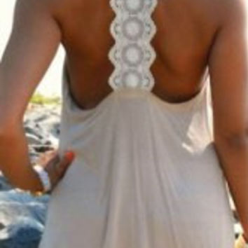 White Lace Backless Tank Top