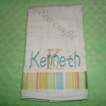 Kenneth Personalized Burp Cloth Boutique Style 6-ply burp cloth Baby Boy gift Burp Rag