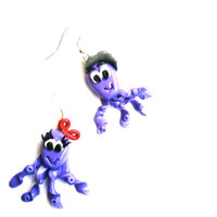 earrings octopus family , Polymer clay, handmade