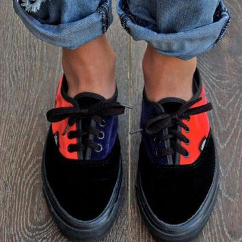 DCCKBWS Rare Vintage Vans Sneakers - Retro Velvet 80's Vans Made in the USA Skate Shoe Plimsol