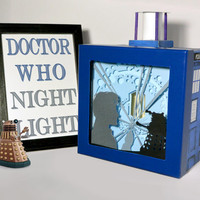 Doctor who shadow box with light - Special night light, unique special gift, geek night light, home decor