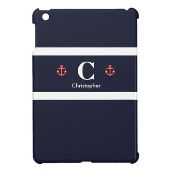 Custom Nautical Navy Red Stripes Name Monogram Cover For The iPad Mini