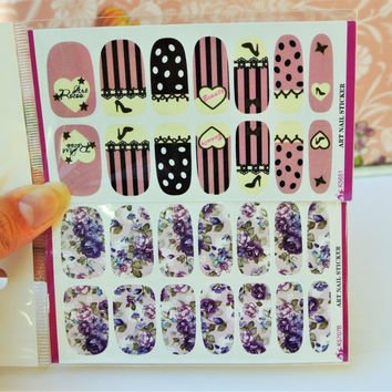 2 Packs Pink nail wrap, Purple Flowers Nail Art, Nail Design, water transfer, Nail Decals, Roses, Stripes Nail Art, Floral, Heart Nails