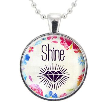 Shine Like A Diamond Necklace, Motivational Good Luck Pendant, Gift For Graduate, Best Friend, Sister