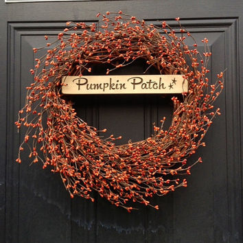 Fall Wreath, Pip Berry Pumpkin Patch Wreath