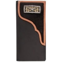 3D Black Distressed Leather and Hair-on Inlay with Concho Western Rodeo Wallet