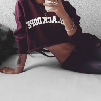 Holes printed umbilical round red wine red sweater