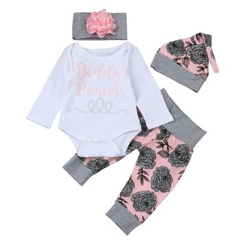Daddy's Princess Infant Baby Onesuit Bodysuit Floral Pants Beanie Hat And Headband