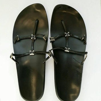Black Leather Low Heeled Minimalist Sandals With Metal Square Accents Women's Size 39 US Size 8.5 Made By K.K.VIRTY