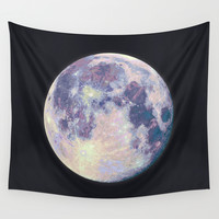 Blue moon Wall Tapestry by Marta Olga Klara