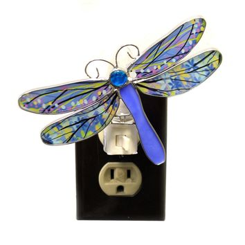 Home Decor DRAGONFLY NIGHT LIGHTS Metal Insect Wings Odonata Ea17526 Blue