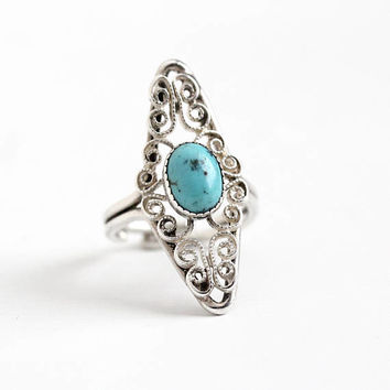 Vintage Sterling Silver Simulated Turquoise Ring - Retro Filigree Adjustable Marbled Blue Glass Stone Navette Statement Beau Jewelry