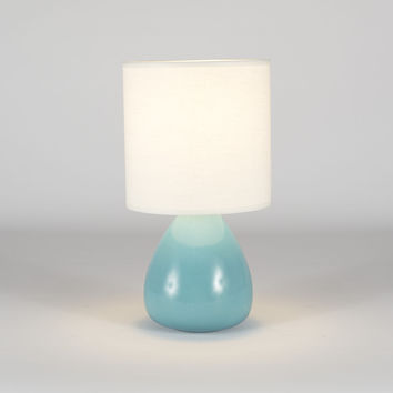 Lights UP Pear Table Lamp Teal Crackle Ceramic