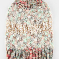 Mixed Media Beanie Beige One Size For Women 26439442601