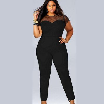 2018 summer hot sale mesh patchwork shot sleeve plus size 3xl 4xl hollow out sexy club party women Elegant Rompers Maxi Overalls