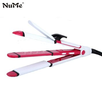 3 in1 hair styling tools Multifunction curling Iron Corrugation Hair Curler Rollers straightener Ceramic Wave Curling Wand Waver