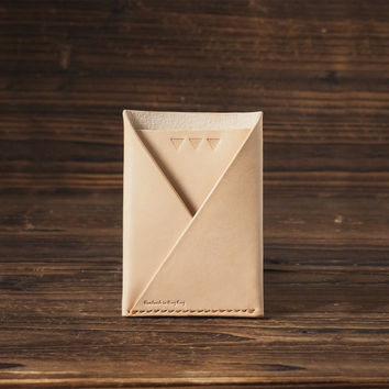 Leather Folded Card Wallet #Natural Nude