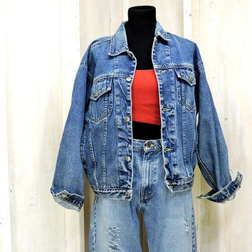 90s denim jacket  S M L /  mens vintage trucker jacket /  jean jacket / oversized denim jacket / Faded Retro / Bugle Boy