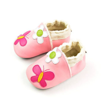 Leather Handcrafts Environmental Baby Pink Butterfly Shoes [4919349444]